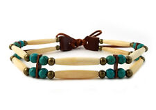Handmade 2 Line Antiqued Buffalo Bone Hairpipe Beads Tribal Choker Necklace