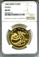 CHINA 1984  PANDA  GOLD   NGC MS 69    1  OZ    100 YUAN   RARE    RED HOT