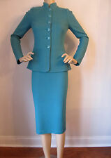 NEW ST JOHN KNIT SZ 10 WOMENS SKIRT SUIT GREEN VERDE SOLID TWEED KNIT WOOL RAYON