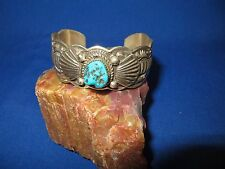 STUNNING 2.6 OZ SOLID STERLING SILVER SLEEPING BEAUTY TURQUOISE NAVAJO BRACELET