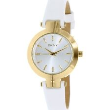 New!!! DKNY NY2404 PVD GOLD STANHOPE WHITE LEATHER BAND WOMEN WATCH