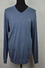 SALE BRAND NEW LACOSTE SLATE BLUE RIBBED V-NECK COTTON SWEATER SIZE: 4XLT 11L