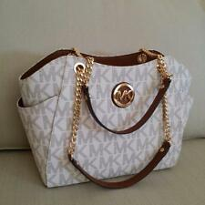NWT Michael Kors Vanilla PVC Jet Set Travel Large Chain Shoulder Tote Bag