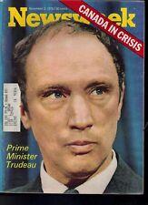 Newsweek Prime Minister Trudeau November 2, 1970