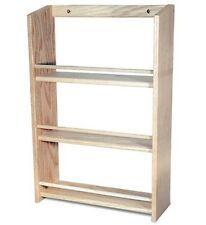 "Solid OAK Wood EXTRA DEEP Spice Rack / 20.5""H x 13.75""W / Wall Mountable"