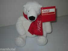 "COCA COLA COKE SODA PLUSH POLAR BEAR WITH RED LOGO SCARF 8"" SEATED ADVERTISING"