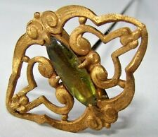 ANTIQUE VINTAGE HAT PIN BEAUTIFUL ART NOUVEAU DESIGN WITH LIGHT GREEN STONE