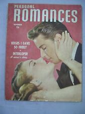 PERSONAL ROMANCES MAGAZINE NOVEMBER 1948 KISSES GAVE FREELY INTERLOPER NURSE