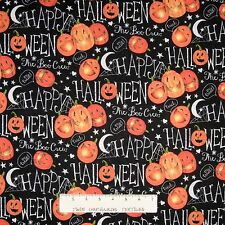Halloween Fabric - The Boo Crew Pumpkins & Words on Black - Springs YARD