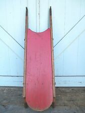 ANTIQUE SLED / OLD RED PAINT 1800's Andirondack Decor OAK & PINE wooden SLED