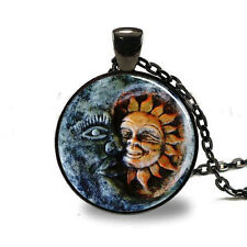 New Sun and Moon Charm Glass Dome Cabochon Black Chain Necklace Pendant fy27