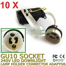 10 X GU10 240V LED Downlight Lamp Holder Socket Connector Adaptor Fixture Base
