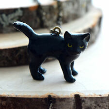 Hand Painted Porcelain Black Cat Kitten Necklace Antique Bronze Chain Ceramic