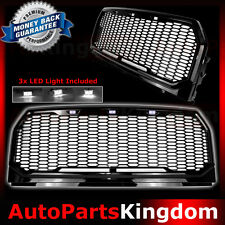 15-17 Ford F150 Raptor Style Black Package Mesh Grille+Shell+White 3x LED light
