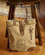 Mona B USA Bag Recycled Canvas Fringed Tote Size Shopper Lined Leather Straps