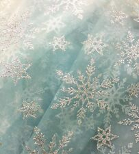 Snowflake Frozen Disney Elsa Crystal Glitter Organza Voile Dress Making Fabric