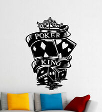 Poker King Wall Decal Casino Game Cards Dice Vinyl Sticker Art Decor Mural 56i