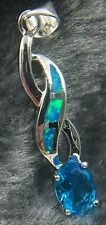 Blue Fire Opal & Aquamarine Sterlinh Silver Pendant Necklace