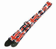 "2"" WIDE PERRI'S UK FLAG GUITAR STRAP NYLON w/ LEATHER ENDS LPCP-47"