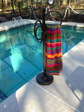 Outdoor 3 Ring Towel Rack - Metallic Bronze color - pool, patio, spa, yard, deck