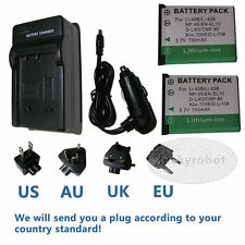2 x Battery + Charger for Fujifilm NP-45 NP-45A BC-45W NP45 instax mini 90