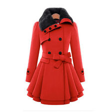 Womens Winter Trench Coat Ladies Double Breasted Fur Collar Wool Outwear Dress