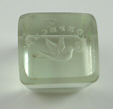Antique Crystal Deep Intaglio Seal Of A Dove with Motto: Depeche.