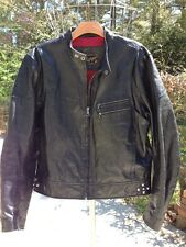 TOMMY HILFIGER Premium Black Leather Motorcycle Jacket M *Red Label*