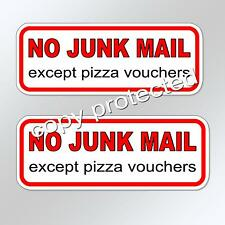 no junk mail except pizza vouchers X 2  letterbox mail box funny sticker decal