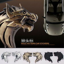 1 Pair Wolf head 3D Metal Auto Car Motorcycle Logo Sticker Badge Emblem Decals