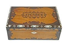 Antique Rosewood / Walnut / Bone/ Mother of Pearl Inlaid Cigar Box, Dutch.
