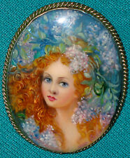 """Young Girl Spring"" Russian Hand Painted Fedoskino Mother-Of-Pearl BROOCH"