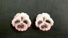 Vintage Pink Pansies Salt and Pepper Shakers Plastic Jay Don Inc USA