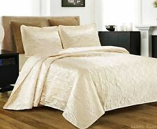 3 Piece Silky Satin Ivory Quilted Bedspread Coverlet Set King Size