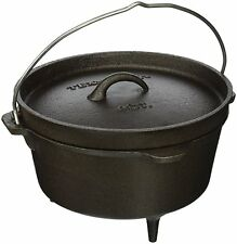 Texsport Cast Iron Dutch Oven with Legs, Lid, Dual Handles and Easy Lift Wire Ha