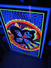 AWESOME KISS 1976 ROCK & ROLL OVER ALBUM POSTER Lp BLACK LIGHT NOT AUCOIN SEALED