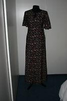 Gorgeous True Vintage Retro Black Floral 1970s Maxi Dress Size 12