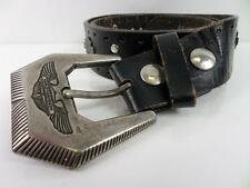 "Mens Harley Davidson Leather Metal Studded Belt Black/Silver 31"" GRADE B BA256"