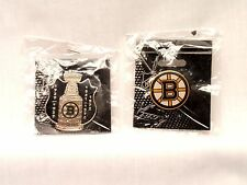 Boston Bruins Stanley Cup Championship Shield Pin + Bruins Lapel Pin - Mint!