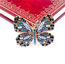 So Cute Rhinestone Crystal Butterfly Breastpin Women's Gold Plated Brooch Pin