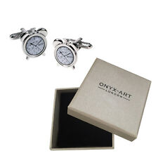 Mens Silver Retro Alram Clock Cufflinks & Gift Box - By Onyx Art