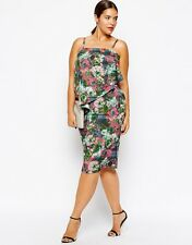 ASOS CURVE Exclusive Plus Size Double Layer Cami Dress Floral Multi UK 18 BNWT