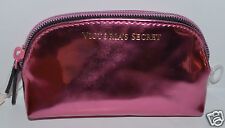 NEW VICTORIA'S SECRET PINK SHINY MAKEUP COSMETIC CASE BAG CLUTCH ORGANIZER SMALL