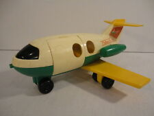 Vintage 1980 Fisher Price #182 Plastic Airplane Green White Yellow (hd0)