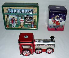 LOT SET OF 3 STARBUCKS COOKIE TINS PIKE PLACE / CHRISTMAS SAMPLER / TRAIN ENGINE