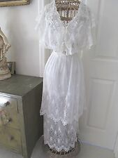EXQUISITE ANTIQUE EDWARDIAN LAWN SCHIFFLI LACE & VALENNCIENNES LACE TEA DRESS