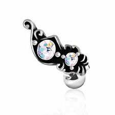 Ornate Aurora Borealis Cartilage Earring 316L Surgical Steel