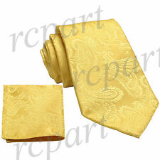New Brand Q Men's Micro Fiber Paisley Neck Tie & Hankie Set Gold formal