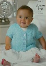 KNITTING PATTERN Baby Short Sleeve V-Neck Cable Cardigan DK King Cole 4394
