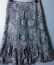 PER UNA silver grey floral cotton blend skirt 14